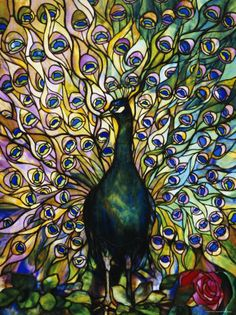 Louis Comfort Tiffany stained glass windows are just so beautiful. this stunning peacock provides the entire scene. Tiffany Glass, Tiffany Stained Glass, Stained Glass Art, Stained Glass Windows, Mosaic Glass, Tiffany Art, Louis Comfort Tiffany, Art Nouveau Arquitectura, Window Poster