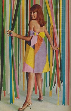 Model wearing a paper dress, 1960s   Repinned by Temple Towels, www.templetowels.com