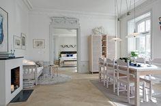 Vitsåpad herringbone parquet running through the rooms | Alvhem Brokerage and Interiors