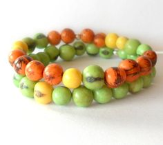 Bright Orange Yellow and Apple Green Acai by theblackstarboutique, $32.00