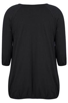 Black 3/4 Sleeve Top With Bubble Hem