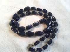 Vintage Navy Blue Glass Bead Necklace, 60s, 70s. by GothiqueGirl on Etsy