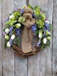 Burlap Wreath, Front Door Wreath, Spring Wreath, Summer Wreath, Designer Wreath, Home Decor on Etsy, $109.00
