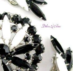 Brooch Set Rhinestone Delizza Elster Black White by Vintage55
