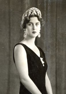 Princess Cecile of Greece, Prince Philip's older sister, wearing an art deco star tiara, circa 1931.