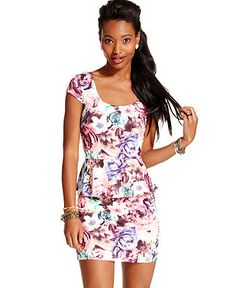 As U Wish Juniors Dress, Cap Sleeve Floral-Print Peplum - Juniors Dresses - Macy's