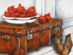 """Pomegranates on suitcase""  Stella Bruwer"