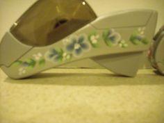 """Blue Flowers on Gray """"Shoe"""" hand held dispenser"""