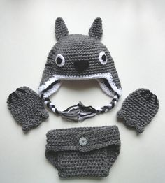 Totoro inspired baby hat mittens and diaper cover set by scotako, $35.00