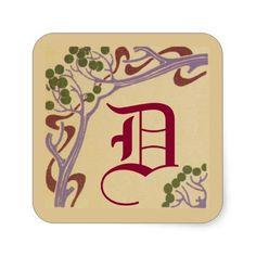 Capital Letter D Art Nouveau Stickers by Janz
