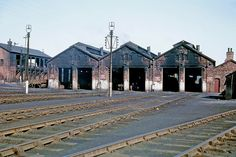 A view of Westhouses Shed on a sunny Wednesday afternoon. March 1965 A higher resolution re-scan of a Kodachrome II transparency. Abandoned Train, Steam Railway, Train Tracks, Bucket Lists, Buildings, Shed, Smoke, Mansions, Landscape
