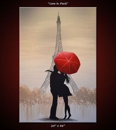 "Items similar to Original Art French Painting Large Paris France Love Red Umbrella . titled ""Love In Paris"", by Amy Giacomelli on Etsy Canvas Art, Canvas Prints, Art Prints, Paris Kunst, Paris Canvas, Original Art, Original Paintings, Umbrella Art, Large Umbrella"