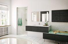 Elegante kontraster i badet - Model Hacienda Bathroom Gallery, Beautiful Space, Bathroom Inspiration, Bathroom Interior, Design Model, Bathtub, Mirror, Kitchen, Furniture