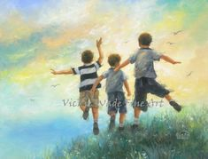 Three Brothers Leaping Art Print boys room by VickieWadeFineArt