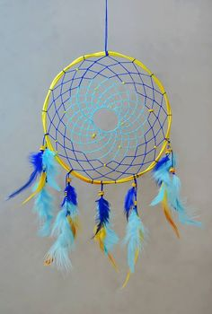 Boho Dream Catcher Yellow Dreamcatcher Natural Wooden Dreamcatcher  Colorful Home and Bedroom Decoration  ~ Dreamcatcher is made from natural