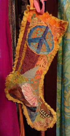 Hippie Christmas Stocking Crazy quilt Hippie by justgivemepeace, $42.00