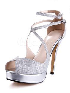 Roman Silver Glitter Faux Leather Spike Heel Women's Gladiator Sandals - Milanoo.com