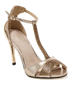 Look at this #zulilyfind! Gold Aruba T-Strap Peep-Toe Sandal by Lady Couture #zulilyfinds