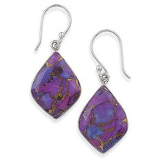 Purple Turquoise Sterling Earrings Fashion Jewelry Gemstones Pearls