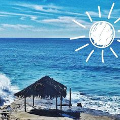 The Windandsea Shack was temporarily destroyed by the King Tides and big surf on Christmas Eve but this historic landmark will be rebuilt // Pic was taken about two weeks ago // Ocean and sun with clip art? How could you not smile?! --------------------------------