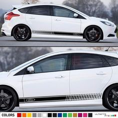 Decal Sticker Vinyl Side Racing Stripes Compatible with Ford Focus RS ST Ford Focus 4, Focus Rs, Volkswagen Phaeton, Jeep Wrangler Rubicon, Racing Stripes, Audi A8, Vinyl Siding, Decals, Sticker Vinyl
