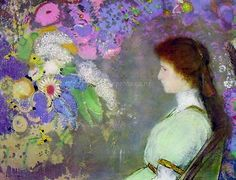 flowers and woman, Odilon Redon