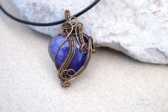 Fairy purple Agate heart wire wrapped pendant  OOAK by Ianira