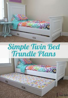 Simple twin bed trundle plans. This trundle is so easy to make, only takes an hour to build.