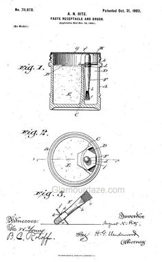 1902-makeup-brush-patent. Gallery – Cosmetic Patents 1900 to 1919.
