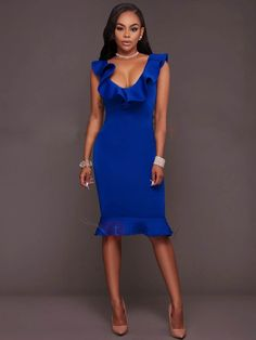 Women Summer Sleeveless Dress Sexy Solid Turquoise Ruffle V Neck Bodycon Midi Tight Wrap Party Dress Vestidos Sexy Dresses, Blue Dresses, Dress Outfits, Fashion Dresses, Fashion Fashion, Party Dresses, Beautiful Gowns, Ruffle Dress, Dresser
