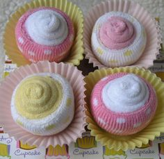 Cupcakes-from washcloths and socks!