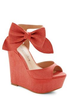 Red Bow Women Wedge Shoes - Cute Bow Women Wedge Shoes