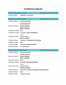 Detailed Conference Agenda Template with Company Logo | Office ...