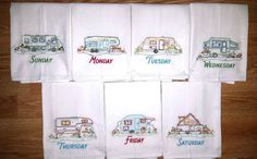 """MACHINE EMBROIDERED FLOUR SACK DISH TOWELS. SET OF SEVEN 30"""" X 34"""" FLOUR SACK TOWELS. CAMPING PATTERN. 