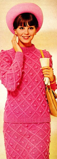 Knitting fashion 1970s. I had a knitted dress my Mom made for me, I loved that dress. It was short and I wore brown boots with it.  dsd