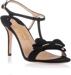 Salvatore Ferragamo Pavi black suede bow sandal