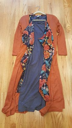 Lularoe orange Sarah with floral Shirley and blue striped dress (Julia-like)