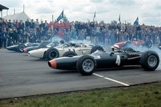 British GP, Silverstone start 1965. Ginther is 3rd on the grid. Clark is on pole in his Lotus 33 Climax, Hill alongside in BRM P261, then Ginther RA272 and on the outside Jackie Stewart in the other #4 BRM P261. Ferrari 1512 #1 is John Surtees.