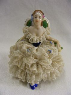 "Vintage Dresden Porcelain Figurine Victorian 3"" Lady Volkstedt Thuringia Germany | eBay"