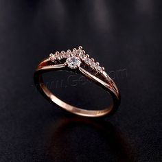 Cubic Zirconia Micro Pave Brass Finger Ring, real rose gold plated, micro pave cubic zirconia, nickel