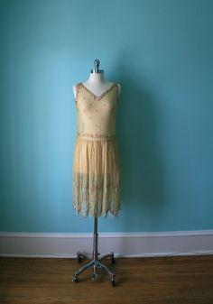 1920s Dress / Vintage Beaded Dress / 20s Wedding / Downton Abbey Gatsby Boardwalk Empire Flapper / Silk Chiffon / Rhinestones / 1920's 20's