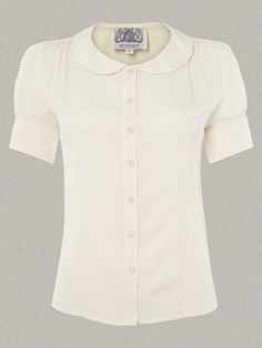 1940s Blouses and Tops 40s Vintage Inspired Crepe De Chine Jive Blouse in Cream $52.00 AT vintagedancer.com