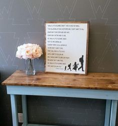 Walk a little slower, Daddy Framed Wood Sign - Netties Expressions Rustic Frames, Rustic Wood Signs, Wooden Signs, Wood Sealer, 16x20 Frame, All Grown Up, Pallet Signs, How To Make Notes, Sign Design