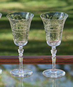 f12867f883a Vintage Tall Wine Glasses Floral Etched Optic Glass Set of