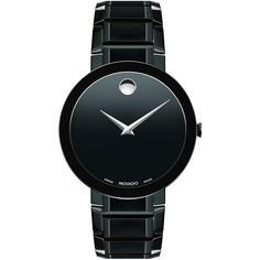 Movado Men's Swiss Sapphire Black Pvd Stainless Steel Bracelet Watch... ($1,995) ❤ liked on Polyvore featuring men's fashion, men's jewelry, men's watches, black, movado mens watches, mens watch bracelet, mens bracelet watch, mens diamond bezel watches and mens watches jewelry