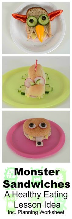 Monster Sandwiches healthy eating lesson idea includes DT, science, maths and literacy and can be used for both and Healthy Snacks To Make, Keeping Healthy, Happy Healthy, Monster Themed Food, Healthy Schools, Food Technology, How To Make Sandwich, Reception Food, Healthy Sandwiches
