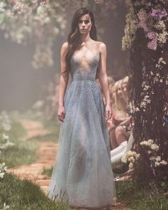 """1,065 Likes, 5 Comments - Paolo Sebastian (@paolo_sebastian) on Instagram: """"PSS/S1832 – Gown with illusion neckline and scattered crystal beadwork. #Disney #OnceUponADream"""""""