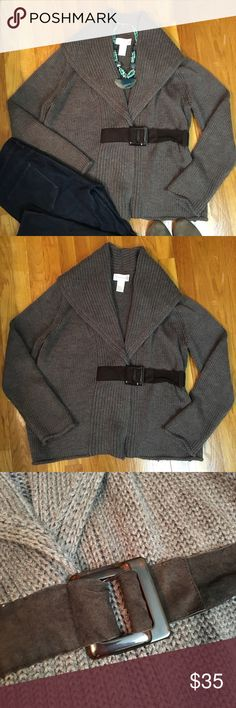 Soft Surroundings Knit Cardigan Super soft and cozy cardigan with buckle cinch. Has a loose string on inside of right wrist. Should be able to tack it down easily. Great sweater for classic and comfortable style! Soft Surroundings Sweaters Cardigans