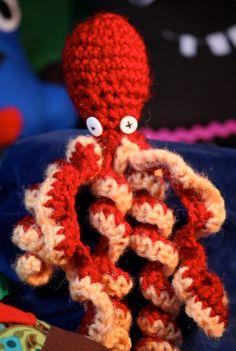 Red Crochet Octopus.  via Etsy.
