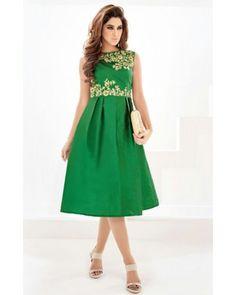 Vibrant Green Georgette Dress